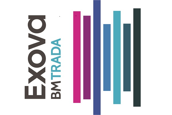 Seven vertical coloured bars with words EXOVA BM TRADA on vertical axis