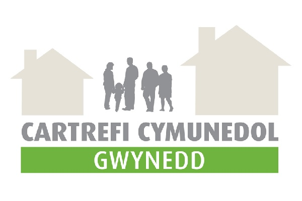 Logo for Cartrefi Cymunedol Gwynedd. outline of people between to simple outlines of houses left and right. Green band.