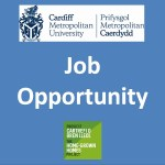 Job Opportunity advert. Blue background with logo for Cardiff Metropolitan University and Home Grown Homes Logo