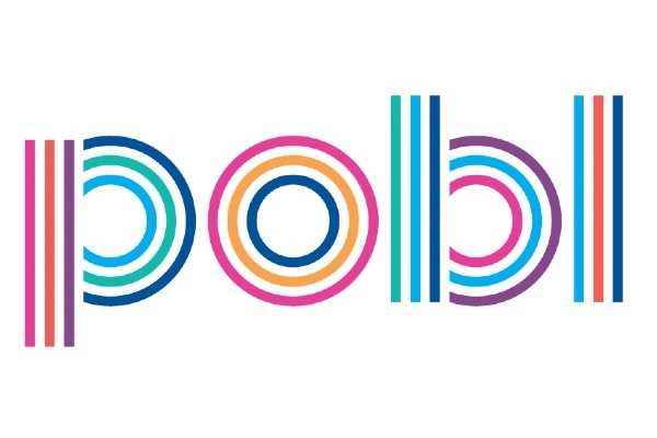 Pobl Logo, letters in bright colours and lines