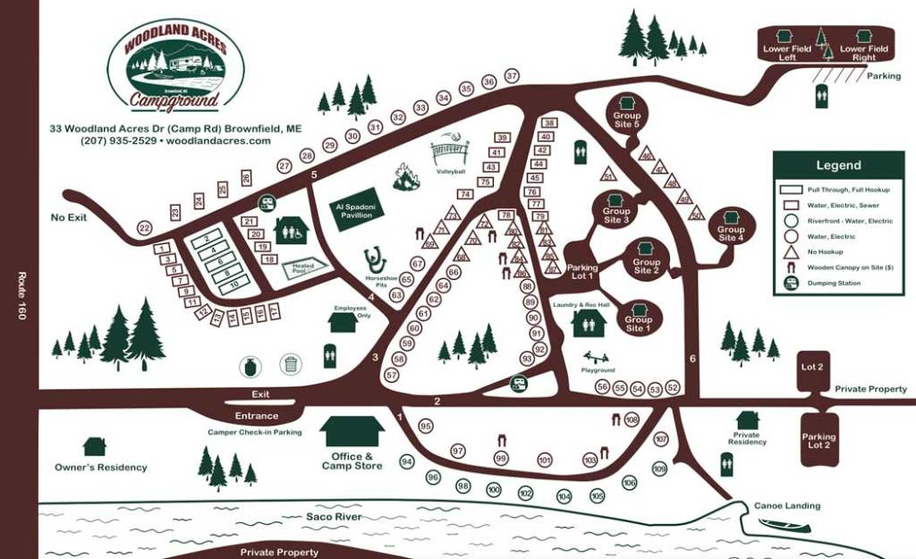 Map of Woodland Acres Campground