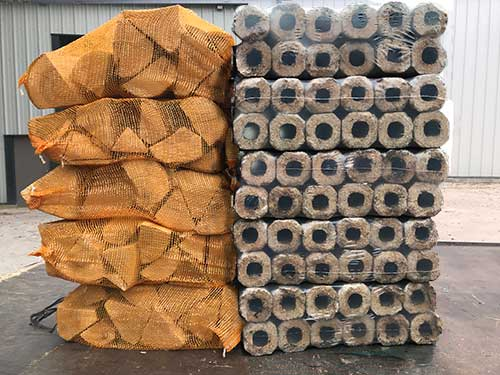 kiln dried ash logs and wood briquettes mix