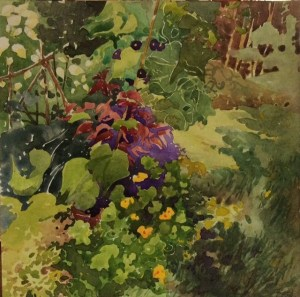 Pat Hardy, Summer Garden, watercolor, 10 in x 10 in