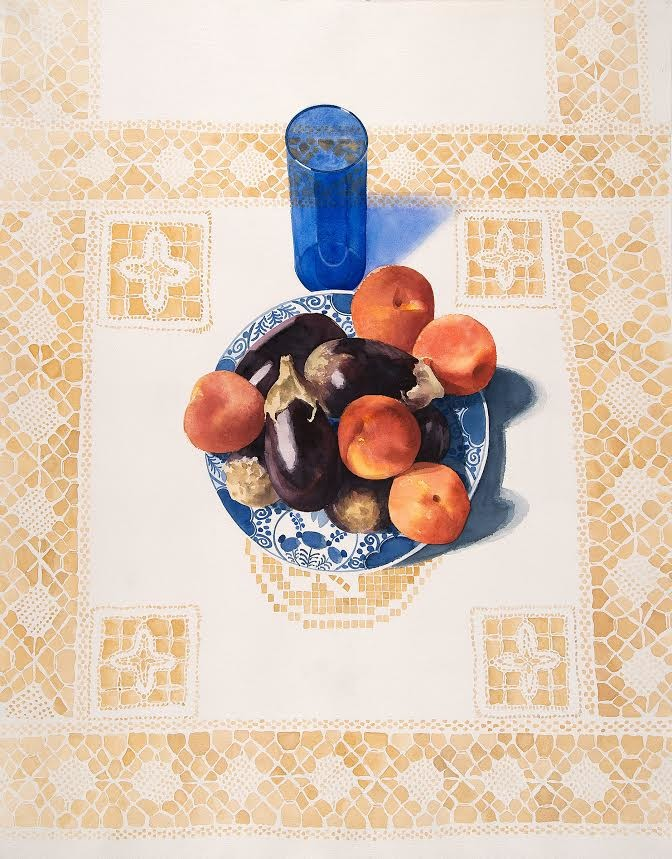 Eileen Goodman: Still Life with Blue Glass (1987) Watercolor on paper