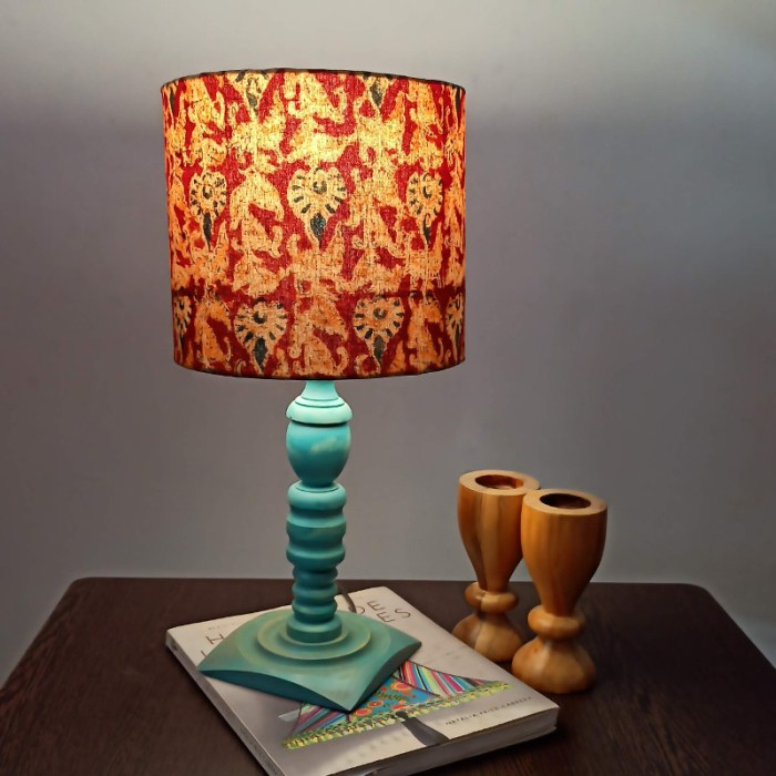 Distressed blue table lamp