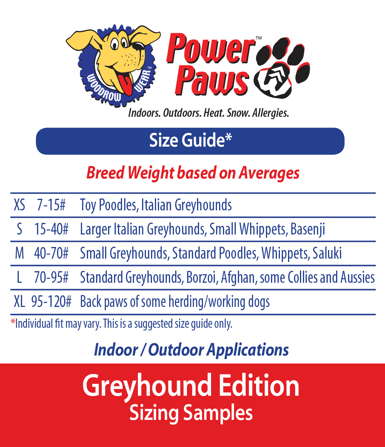 picture about Printable Sock Measurement Chart known as Buy the Directly Sizing Energy Paws - Woodrow Put on