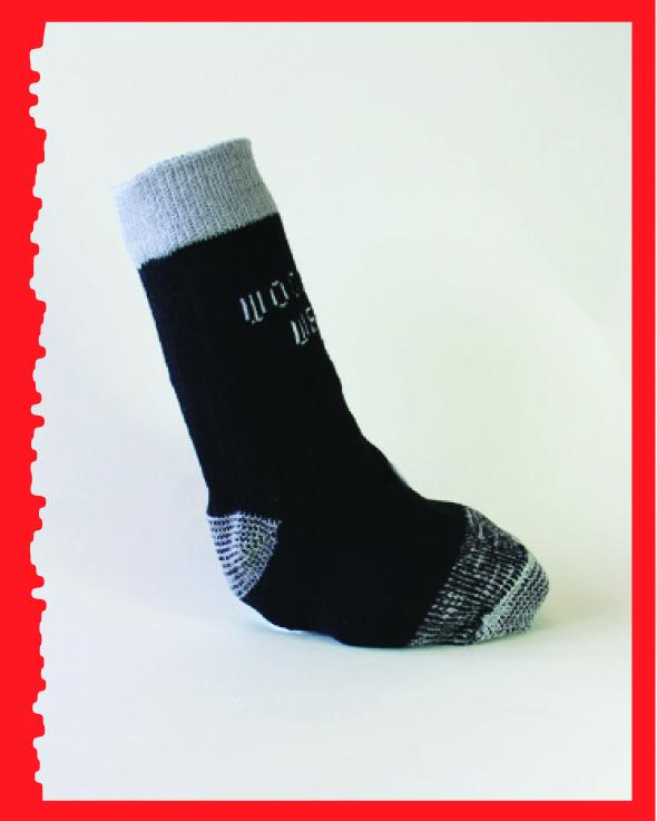 Reinforced Foot, Black/grey, side view.