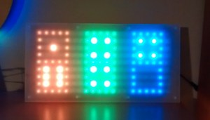 "Dice Clock showing ""domino"" mode where hours, minutes and seconds are shown together"