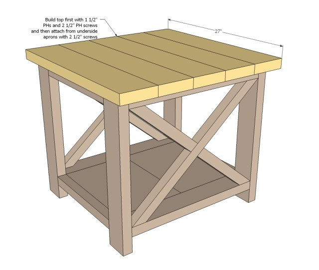 rustic end table woodworking plans step 06