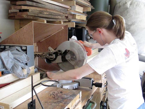 Cutting Boards to length with sliding chop saw