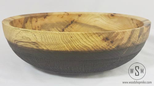 Hickory Bowl with Basket Weave Pyrography