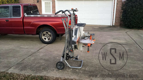 Collapsed Standing On End, Ridgid Miter Saw Stand