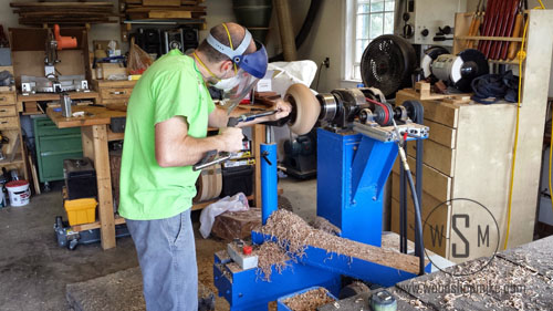 Big Blue Home Made Wood Lathe, Cherry Hollow Form