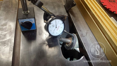 Measuring Run-Out on Flange, Grinding Table Saw Arbor Flange