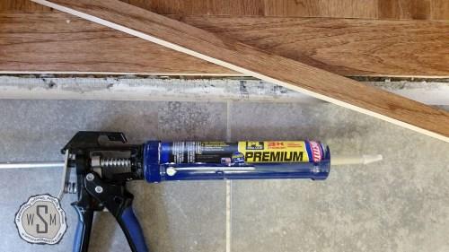 Gluing Custom Threshold, Master Bath Remodel, Flooring