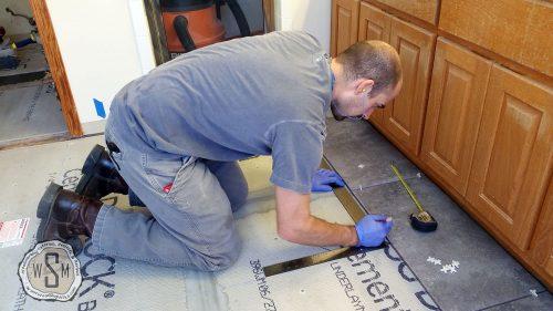 Marking Layout Lines, Master Bath Remodel, Flooring