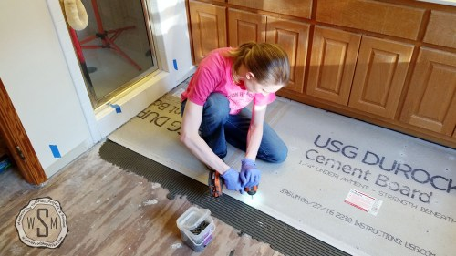 Securing Cement Board, Master Bath Remodel, Flooring
