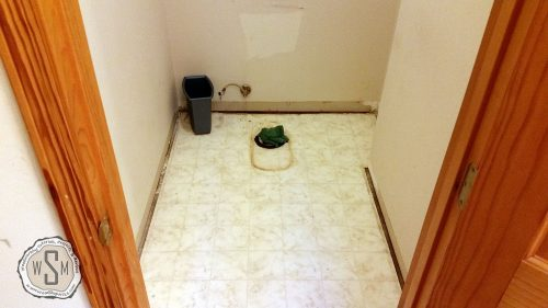 Toilet Removed, Master Bath Remodel, Flooring
