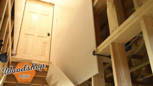 Hanging Drywall in Basement Stairwell 3-building stairs