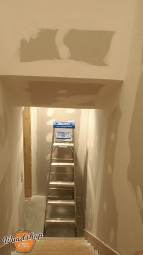 Second Coat of Mud Basement Stairwell 4-building stairs