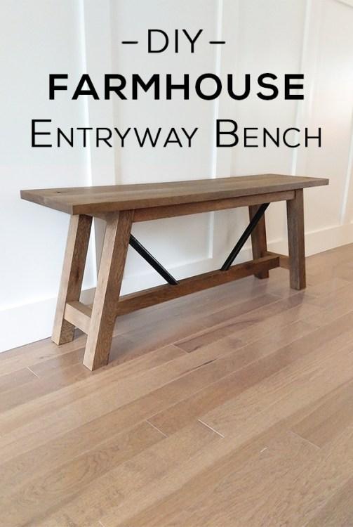 Pinterest Image - DIY Metal and Wood Farmhouse Bench