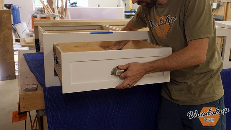 Installing Drawer Front DIY Farmhouse Platform Bed