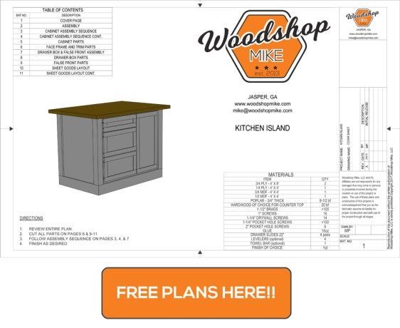 Kitchen Island Free Plans