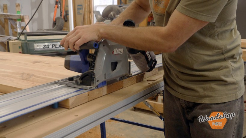 cross cutting with Kreg ACS, make this easy to build rustic bed