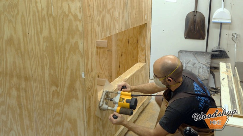 flush cut sheathing with router _ How to make a DIY chicken coop