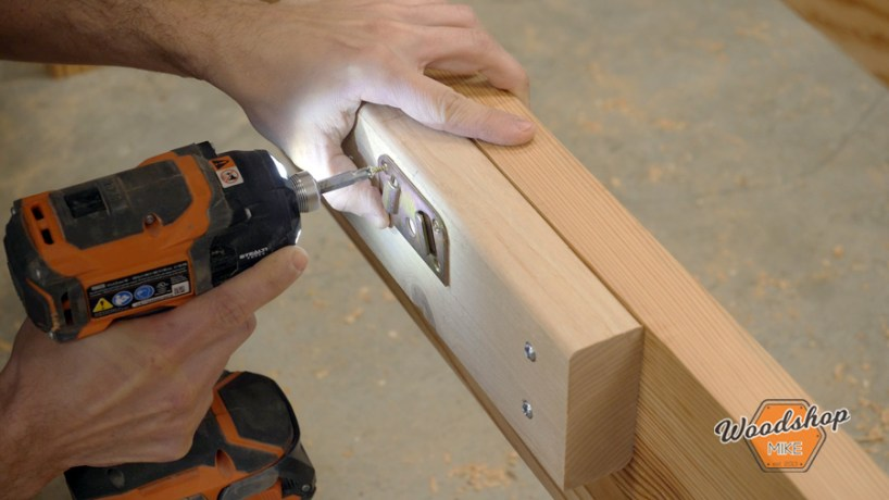 how to install Rockler center bed rail hardware, make this easy to build rustic bed