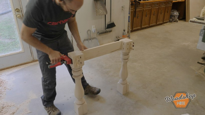 assembling table legs and table apron