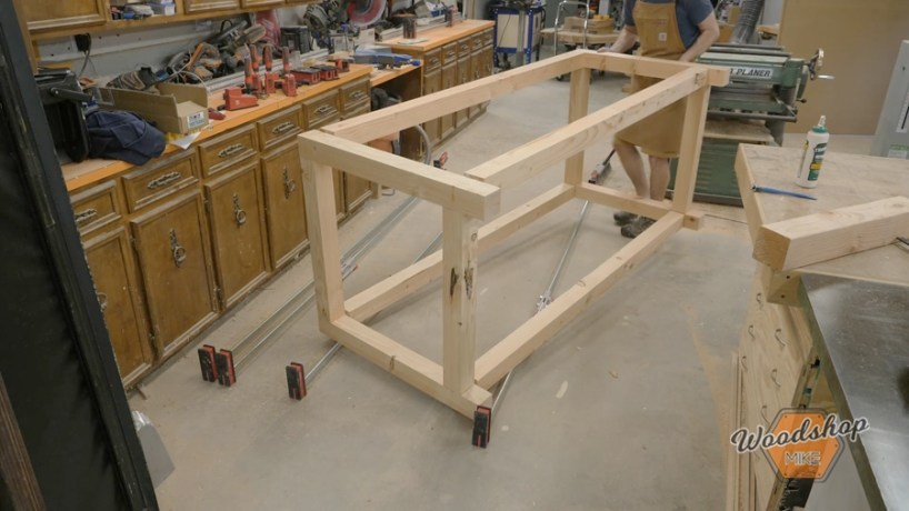 workbench frame assembly with bessey parallel clamps