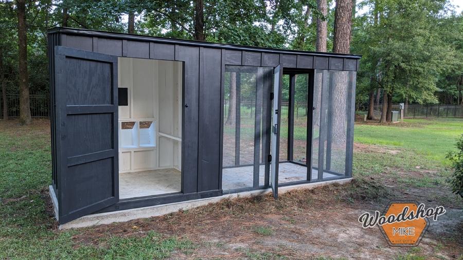 how to build a lean -to chicken coop door open