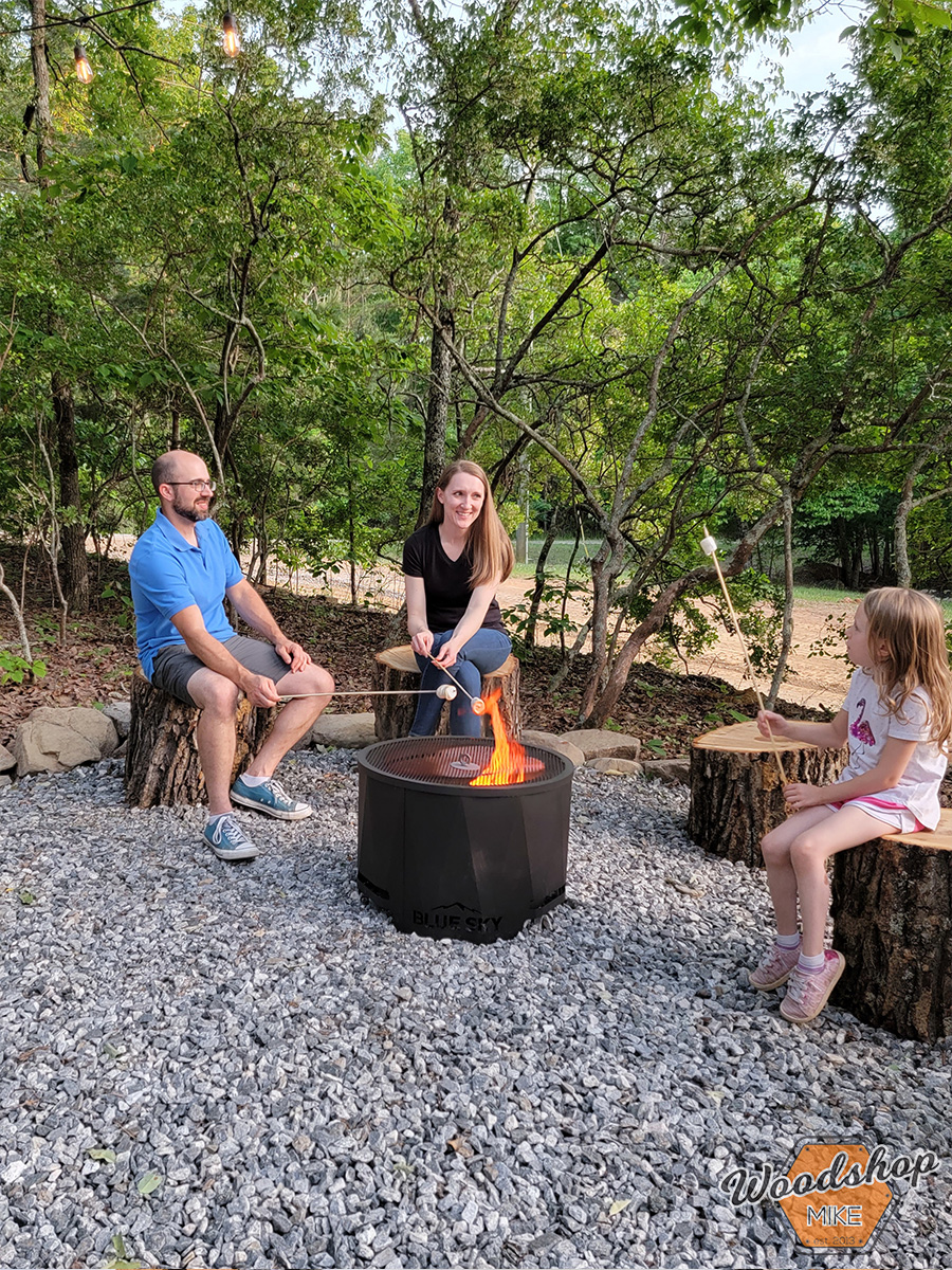 Roasting marshmallows at blue sky fire pit