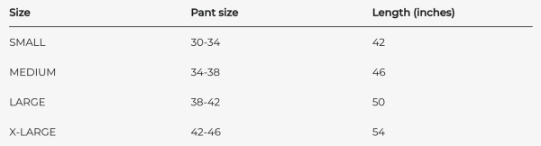 Trayvax Cinch EDC Carry Belt Sizing Chart