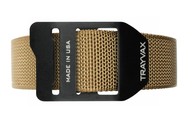 Trayvax Cinch EDC Carry Belt Tan Webbing Black Buckle