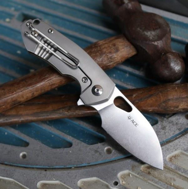 Ace Riv Green Canvas Micarta Pocket Knife