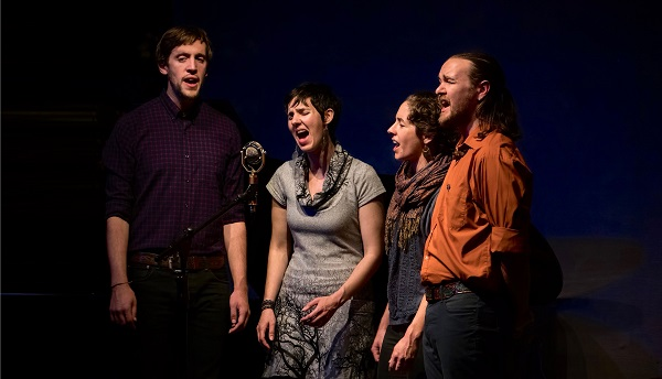 Specializing in close harmony singing, the quartet has a vibrant energy and a strong connection, evident in their engaging performance.