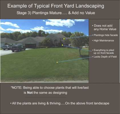 Example of Poor front yard landscape design leading to overgrown landscaping. Stage 3. After 11-12 years.