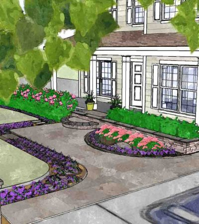Front Yard Landscape Design example in Rochestert NY
