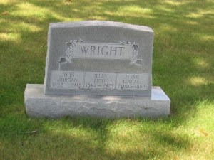 Tombstone for John Morgan Wright (24 May 1862 - 23 March 1915), his wife, Helen Pidd Wright (08 May 1862 - 15 Jul 1925), and their infant daughter Jessie Louise Wright (11 February 1889 - 18 February 1889).