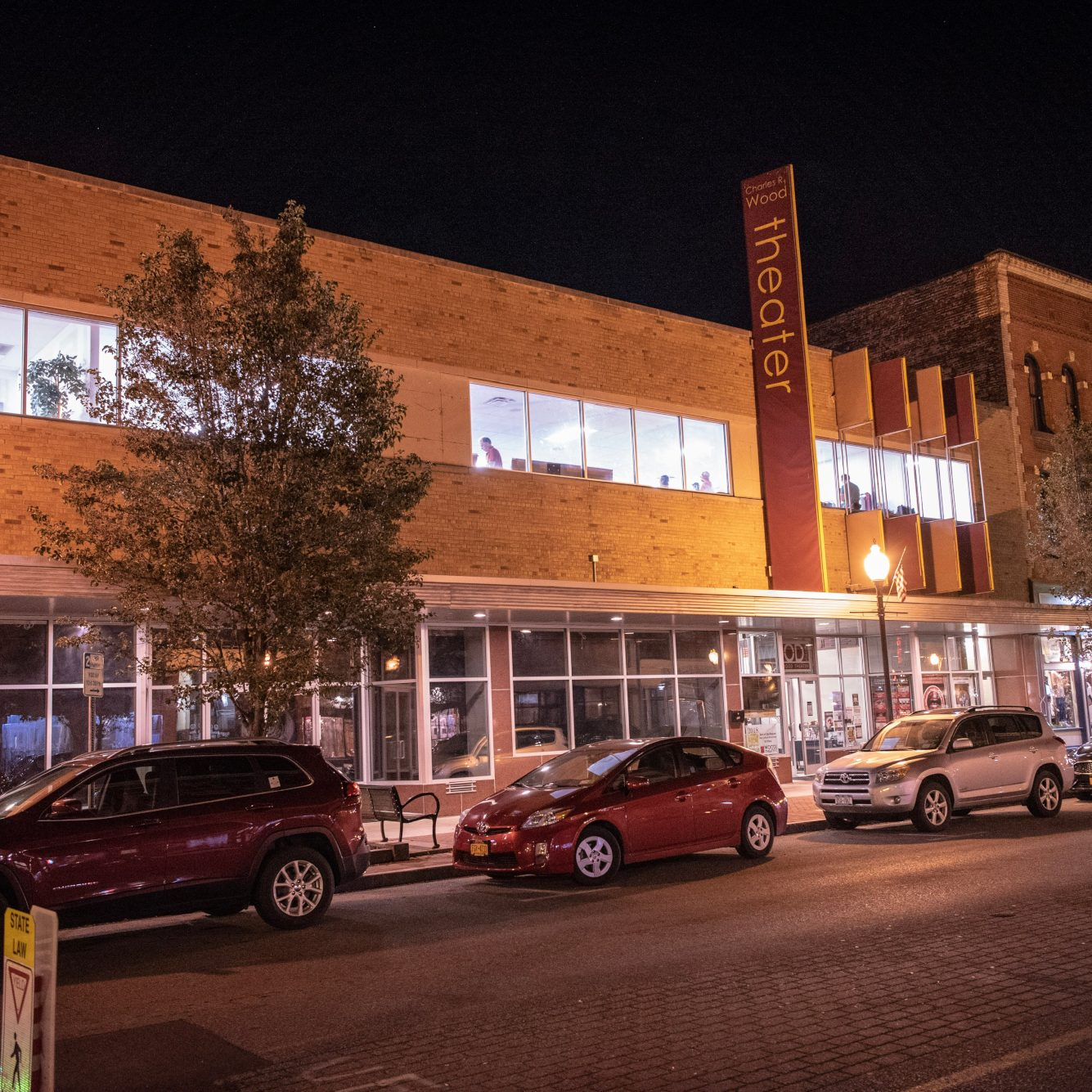 Exterior photo of the Wood Theater in Downtown Glens Falls