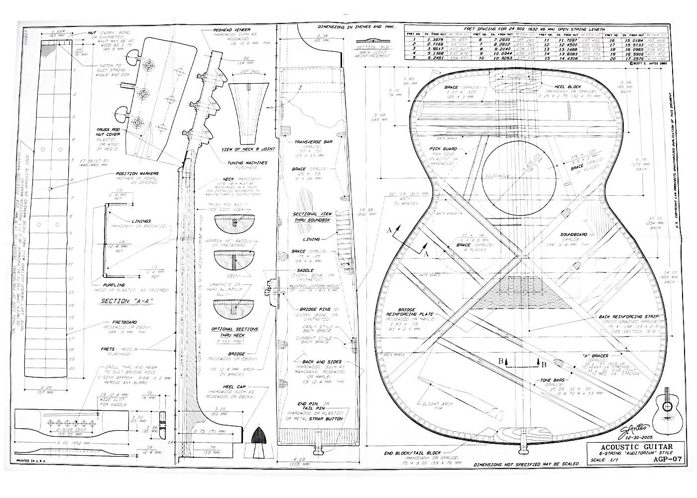 Full Size Blueprint For Martin Ooo Style Acoustic Guitar