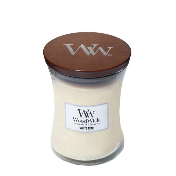 WoodWick White Teak Medium Hourglass lid