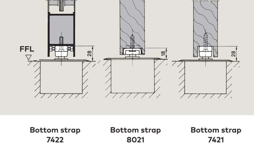 Bottom Strap rebated fixing | Woodwood Door Controls