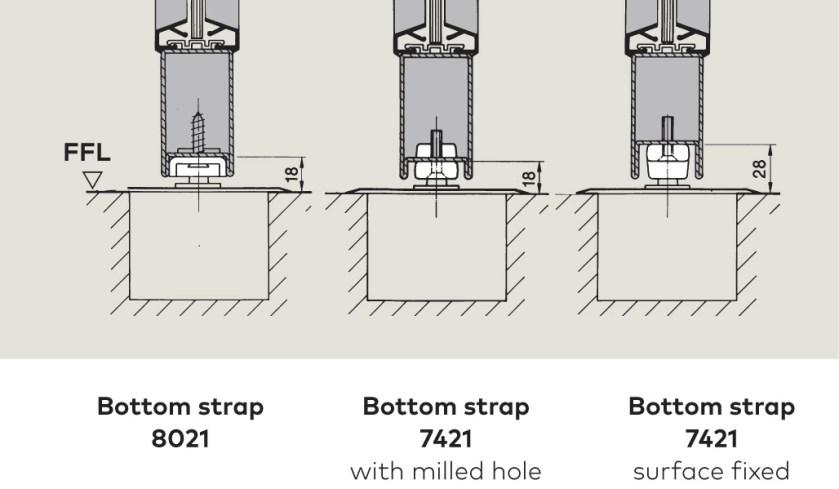 Bottom Strap suface fixing   Woodwood Door Controls