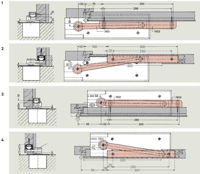 Floor Spring Arm Mounting Options   Woodwood Door Controls