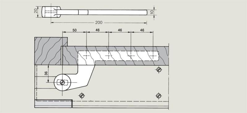 off set timber door bottom strap for a rebated door | Woodwood Door Controls