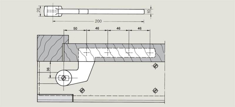 off set timber door bottom strap | Woodwood Door Controls