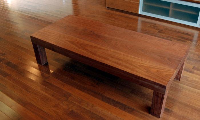ウォールナット材ローテーブルをアッツテーブルで製作してご納品しました